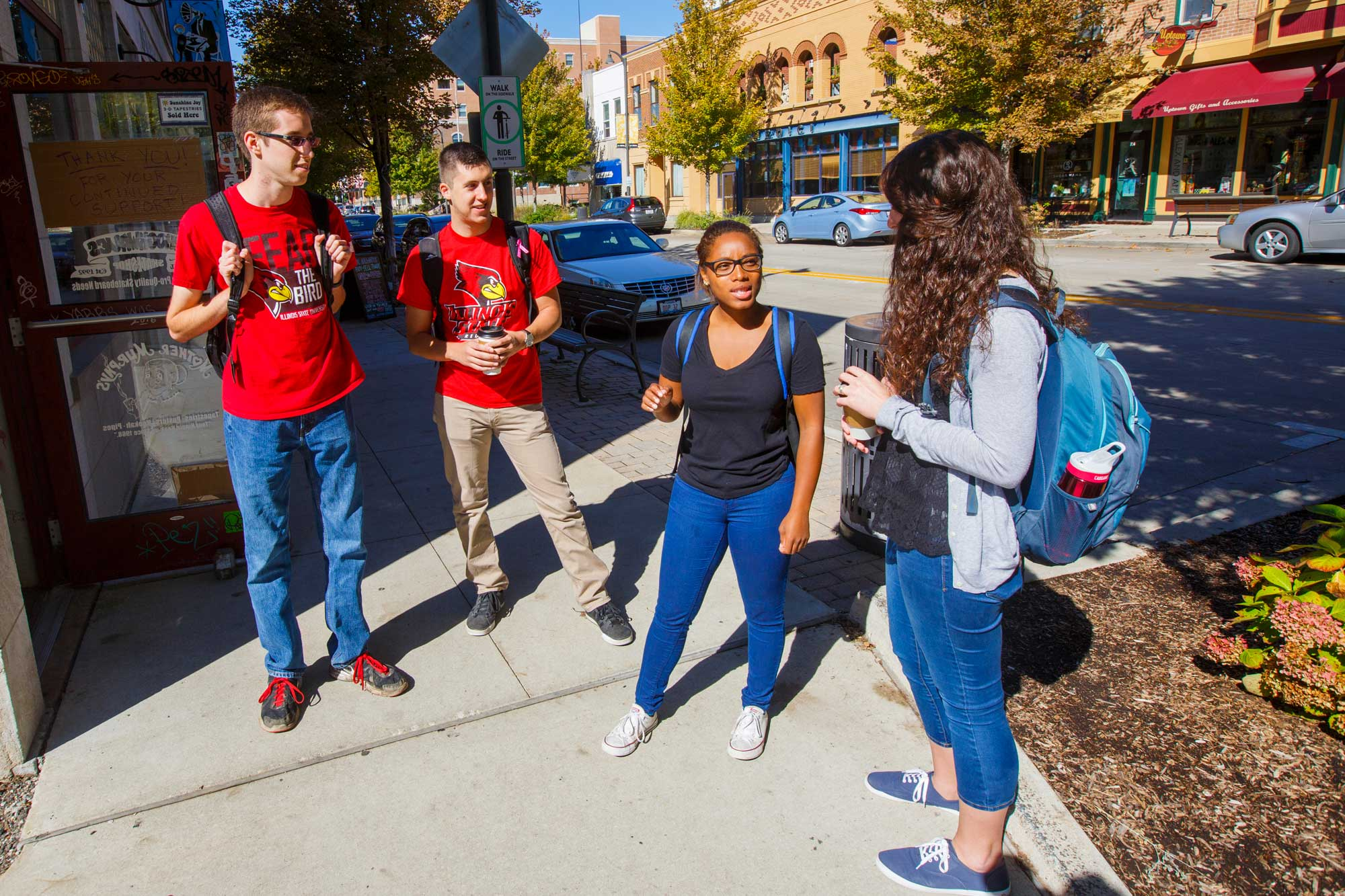 INTO ISU Students talking in town