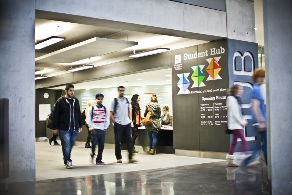 Students leaving the Student Hub