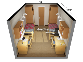 Double Room Floorplan in Rogers Hall at Washington State University