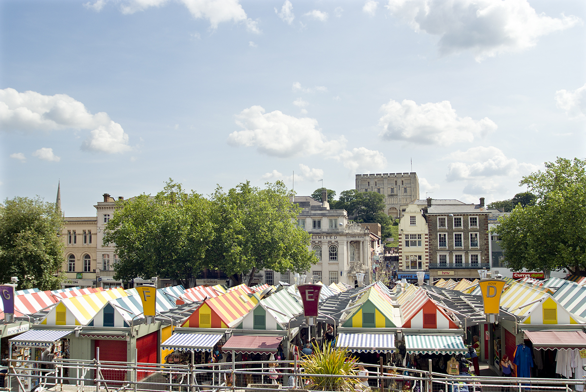 Norwich market and view to the castle