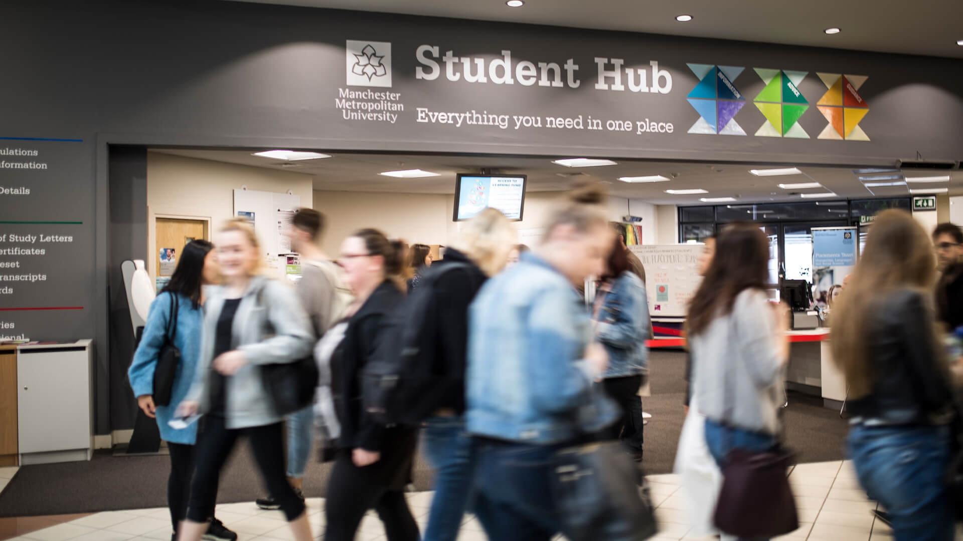 Manchester Metropolitan University's Student Hub offers advice to students on campus
