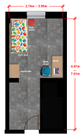 Single bedroom floor plan for accommodation at Oregon State University