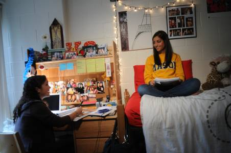 Live with other students in residence hall housing at George Mason University