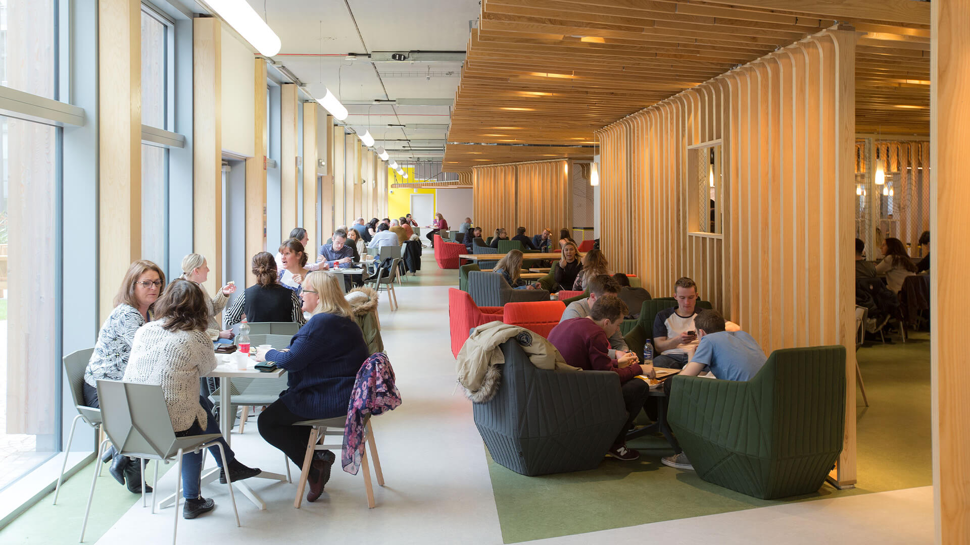 Lunch room and breakout area at Glasgow Caledonian University campus