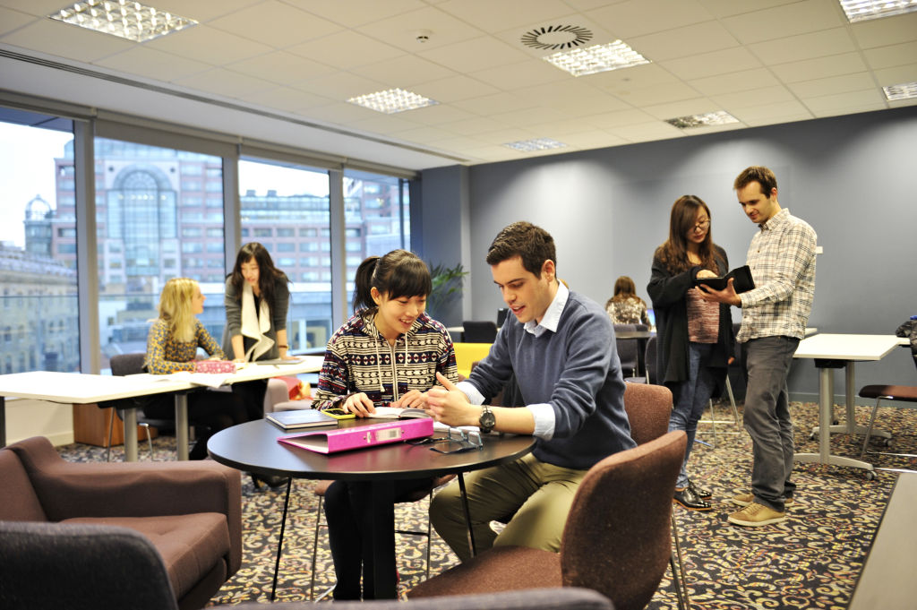 Students using breakout area at Newcastle University London