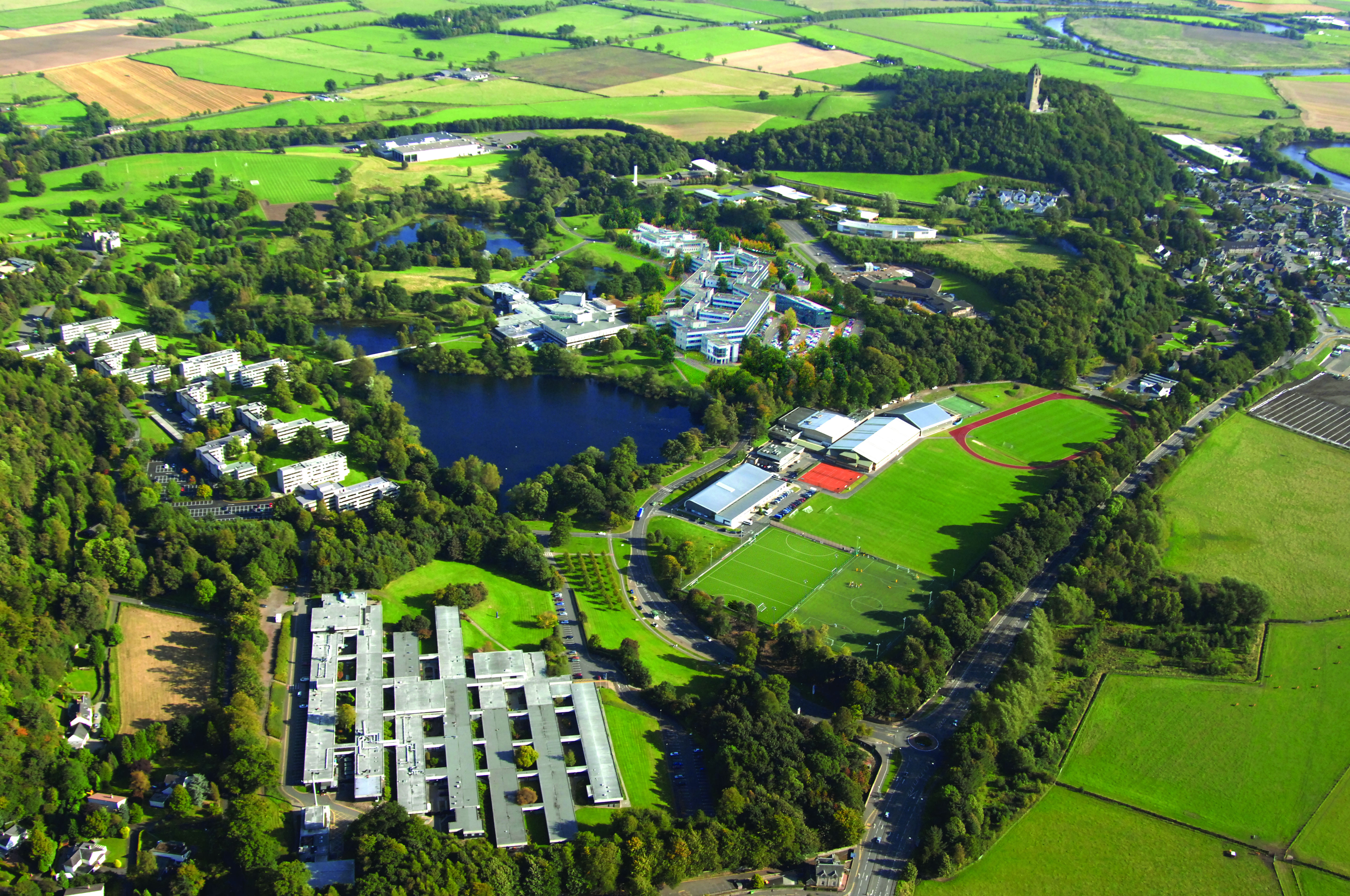 Aerial view of the University of Stirling campus