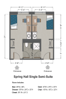 Single Semi-Suite Floorplan in Spring Hall
