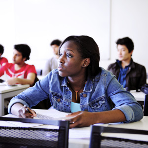 International student in classroom at University of Exeter