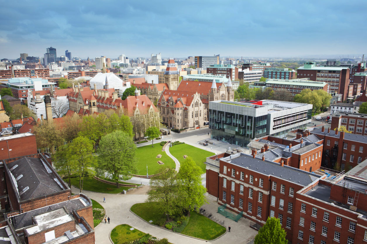 Aerial view of The University of Manchester and the city of Manchester