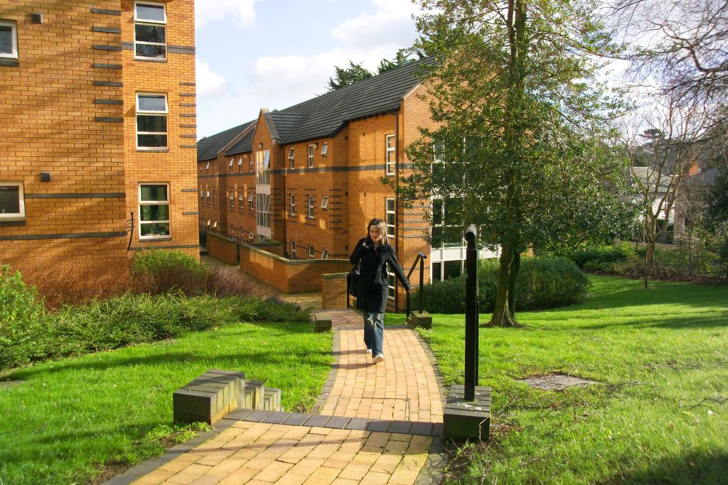 Exterior of Elms Village student residences.