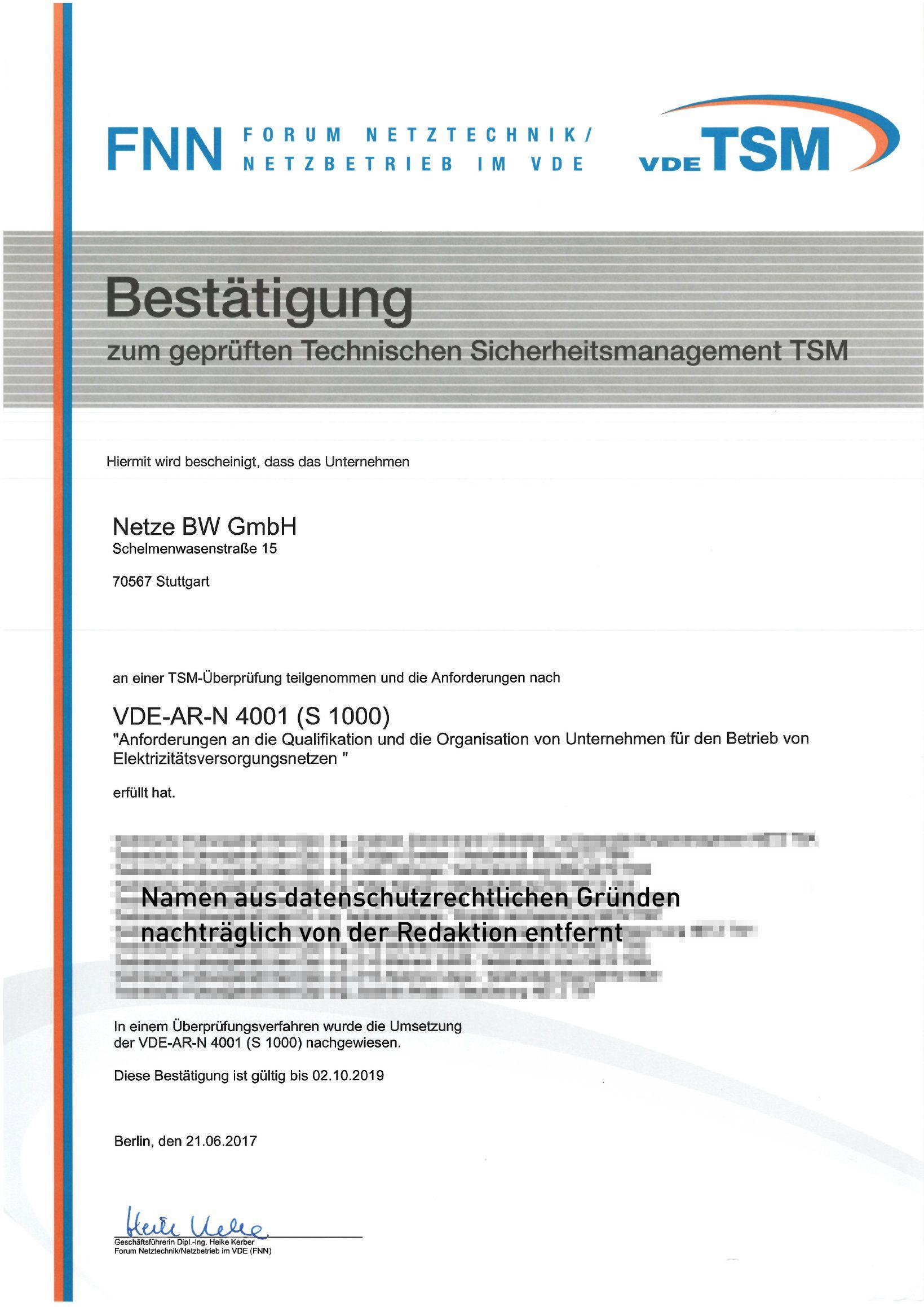 Zertifikate - Netze BW GmbH