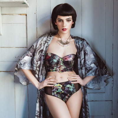 Tropical High Waisted Knickers - Silk panties with sheer back and keyhole detail