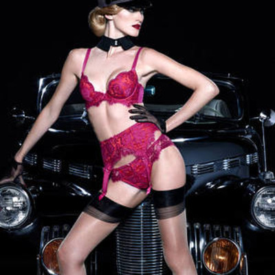 Marlene undeerwire bra, brief, and garter belt