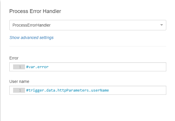 Process Error Handler Configuration