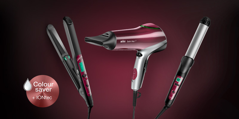 Straighteners, dryers and curlers with Colour Saver technology