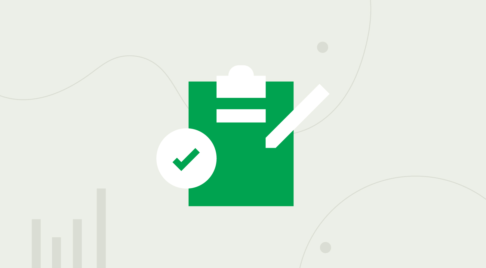 An animated green clipboard with a white pencil and a checkmark.