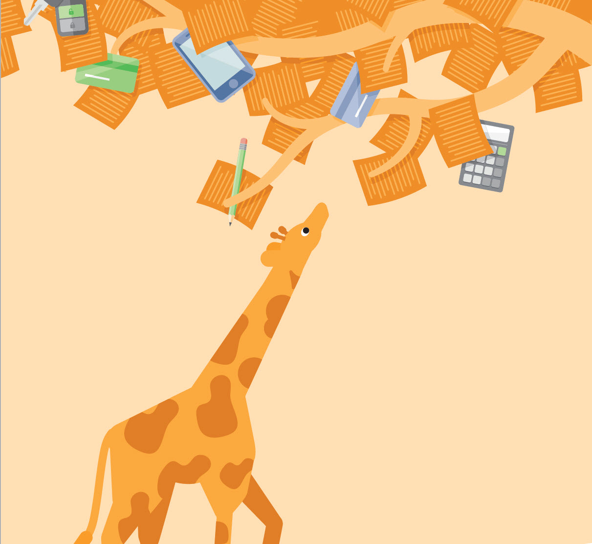 The cover of a PDF discussing ways your credit can work for you with an image of a giraffe.