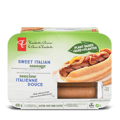 A package of PC Plant Based Sweet Italian Sausage