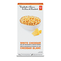 A box of PC White Cheddar Deluxe Macaroni & Cheese