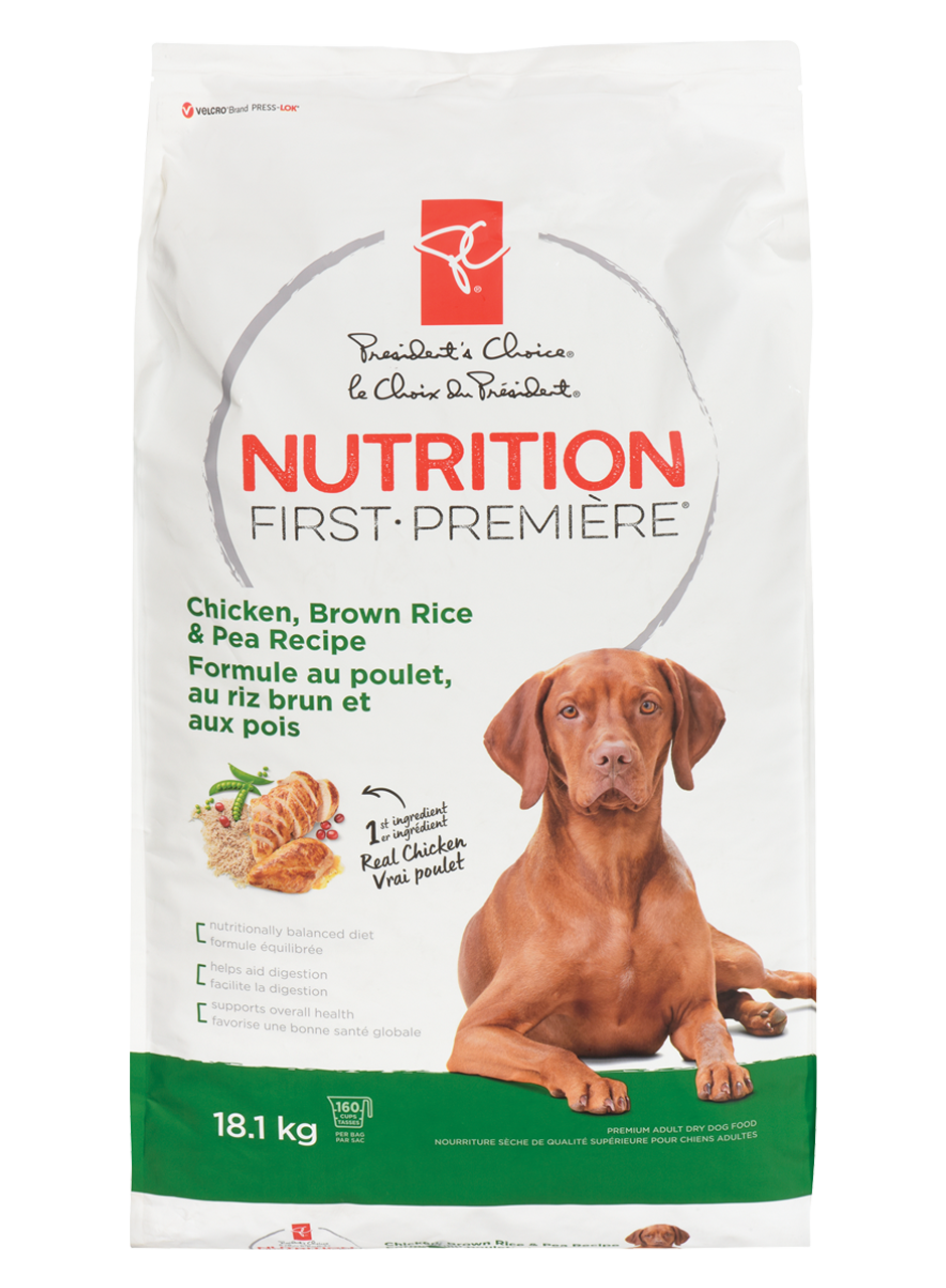 Bag of PC nutrition first large breed chicken with brown rice and pea dog food