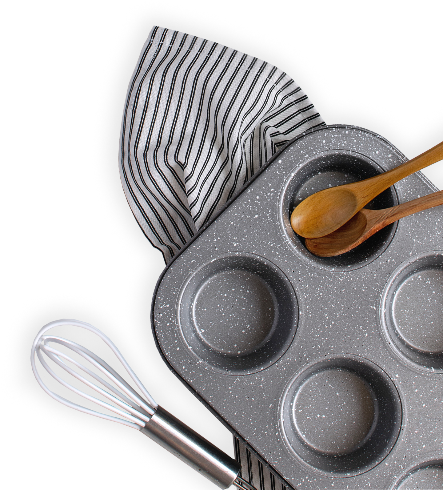Baking pan, whisk, and two wooden spoons laying on top of a dish towel._FR