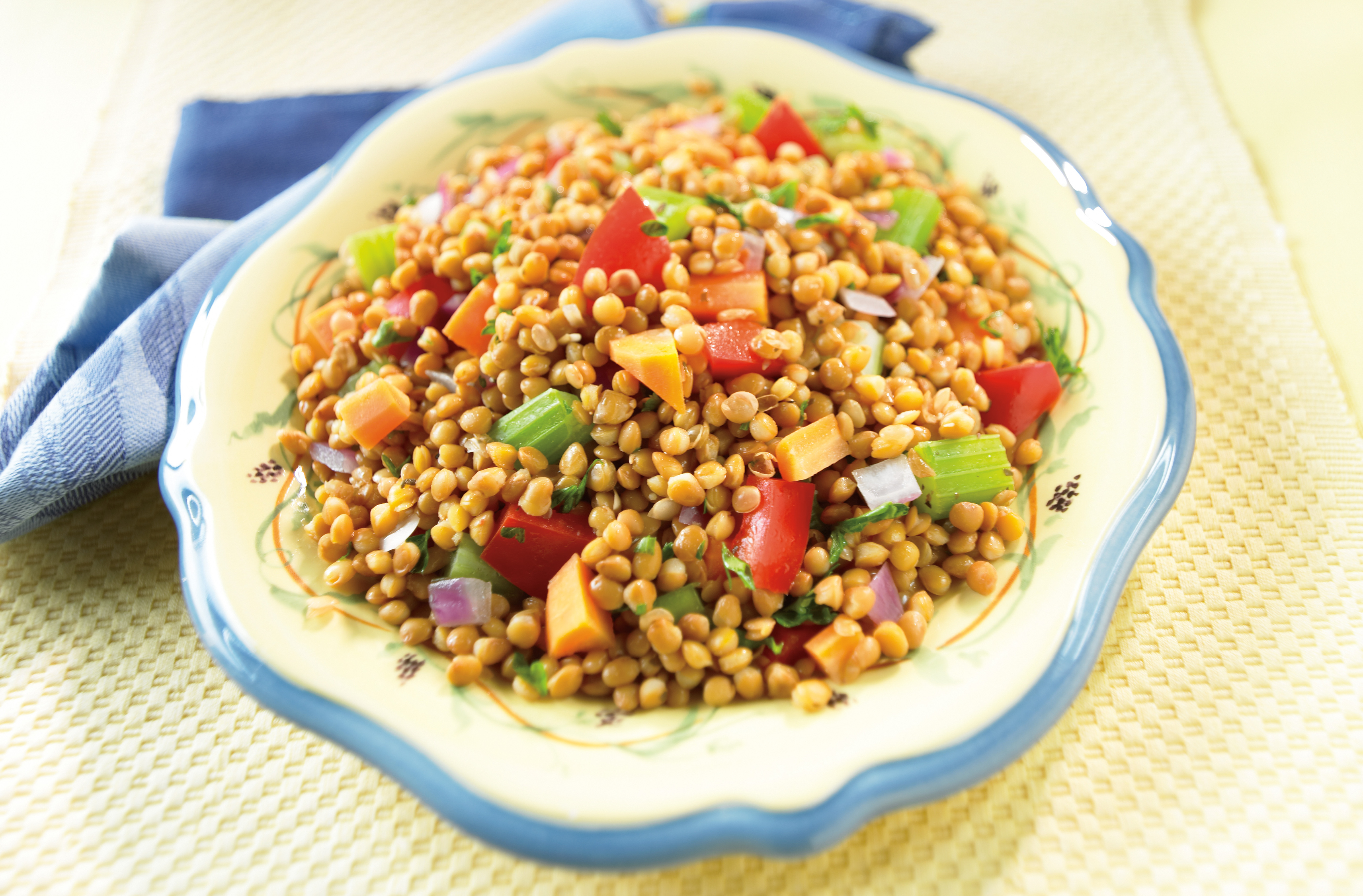 A bowl of warm lentil salad with red onion, carrot, celery & red pepper