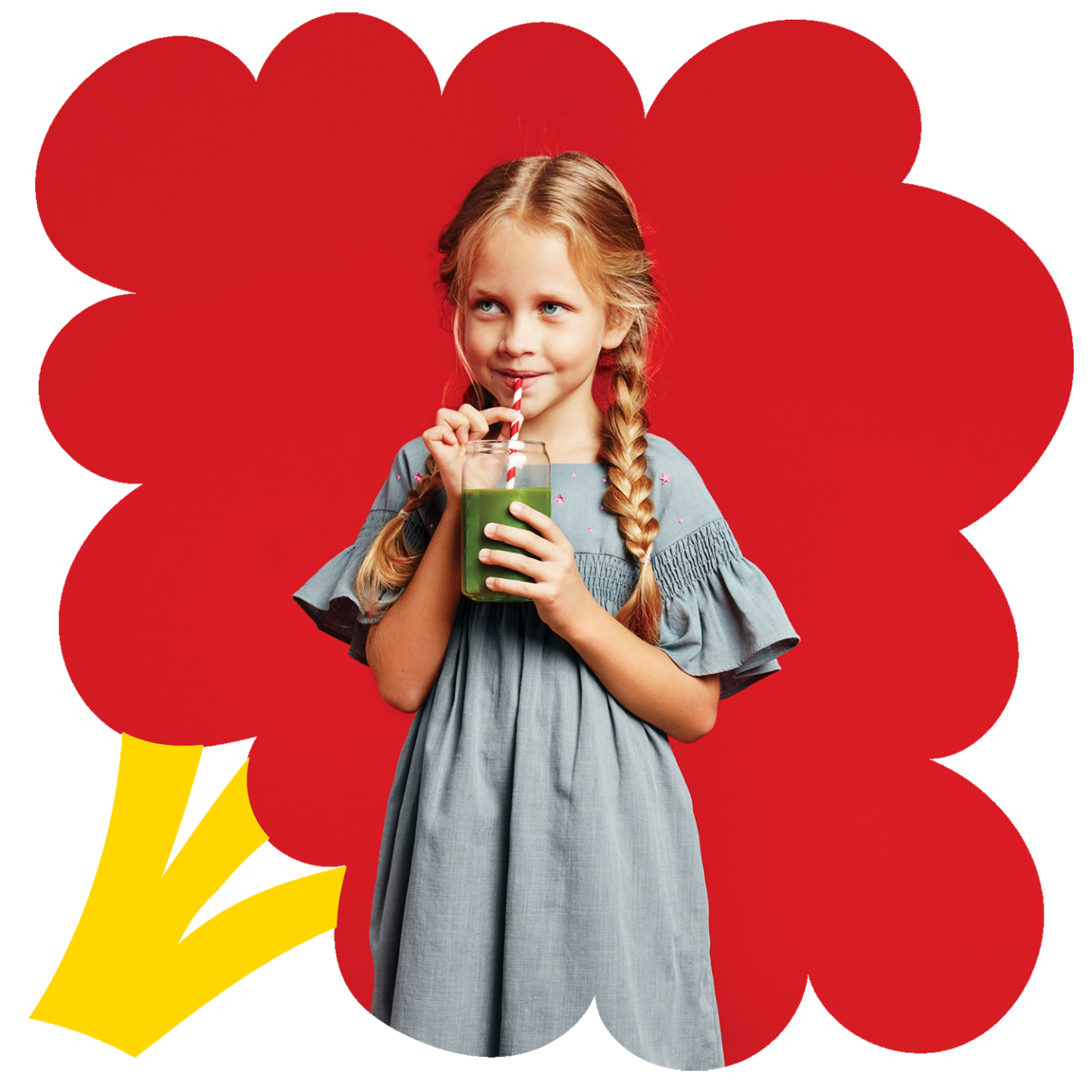 Little girl drinking a smoothie inside a stylized broccoli