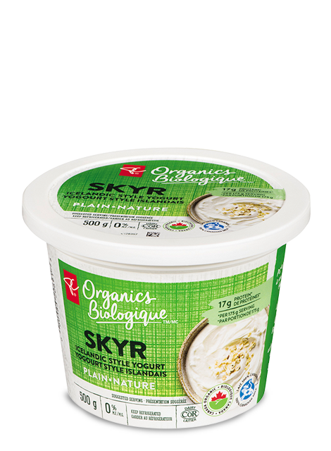 Container of PC Organics Plain Skyr Icelandic Style 0% MF Yogurt