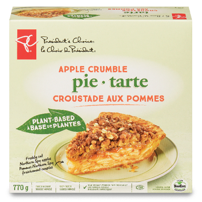A box of PC Plant-based apple crumble pie