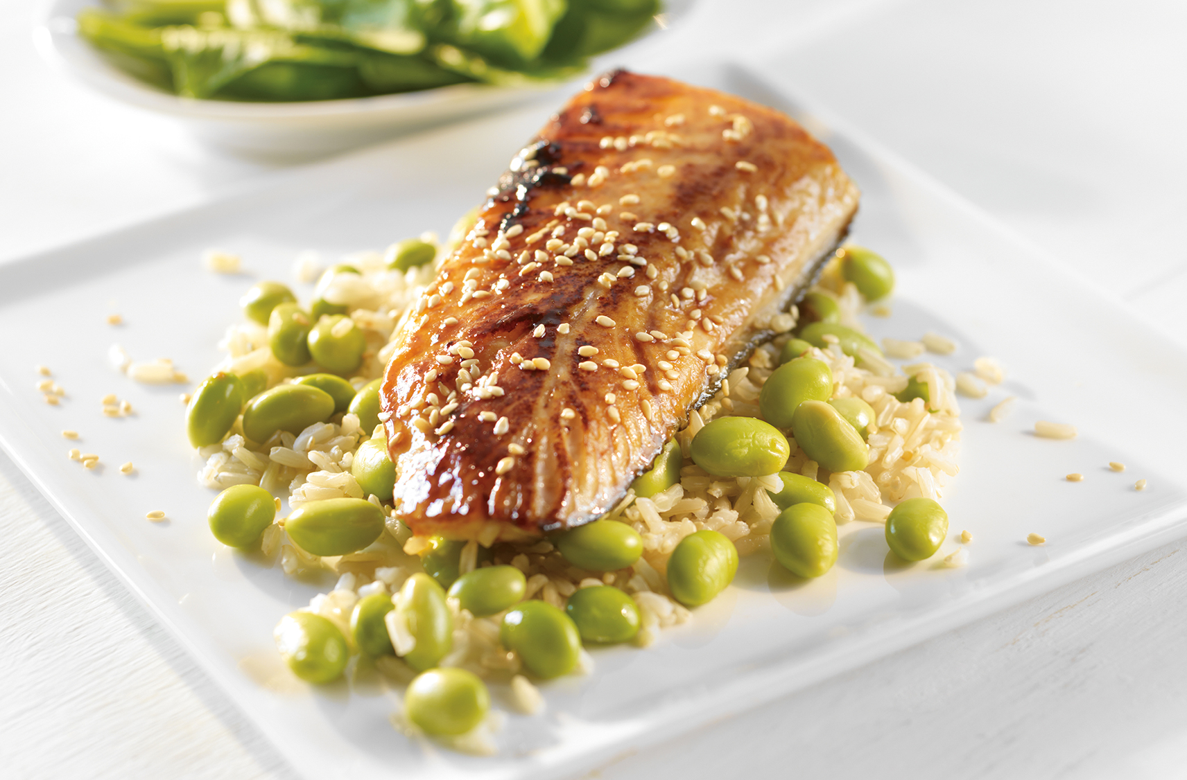Miso Glazed Cod With Brown Rice Edamame Pilaf Pc Ca