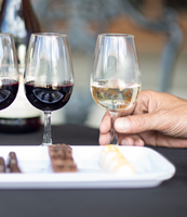 Four wine glasses with different colors of wine with a tray of different types of chocolates, for tasting