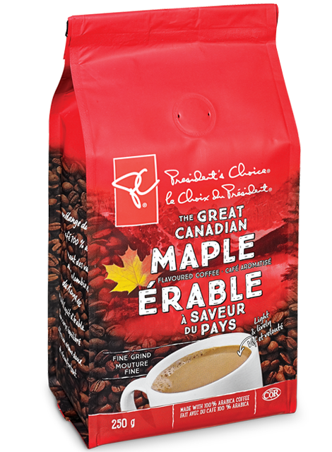 A bag of PC The Great Canadian Maple Flavoured Coffee