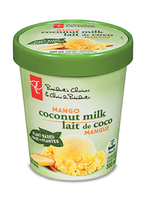 500ml container of mango coconut milk frozen dessert.