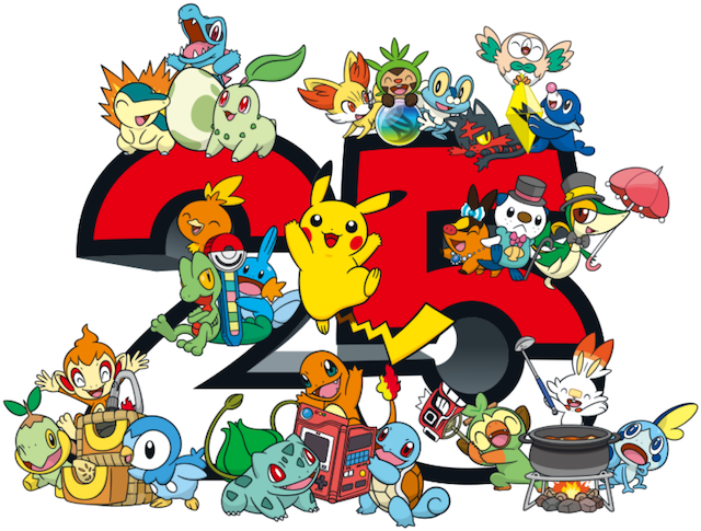 Pokémon characters on a number 25