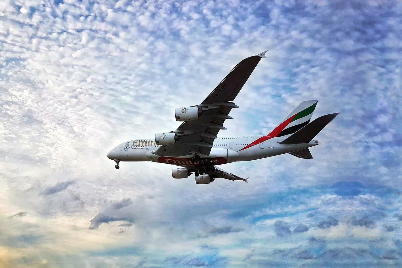 Emirates aircraft in the air