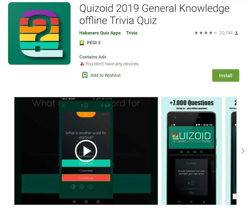 Quizoid screenshot