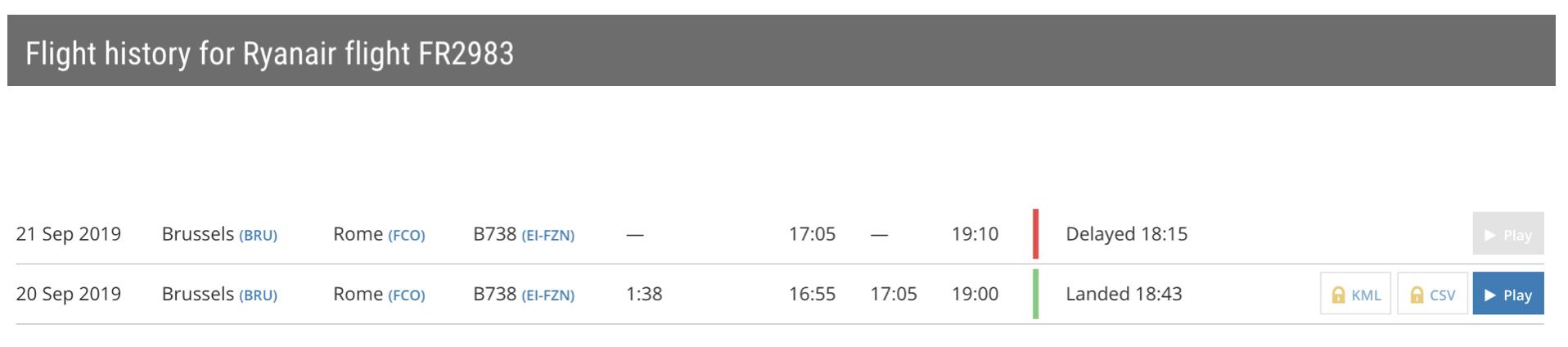 Flight history - Ryanair flight