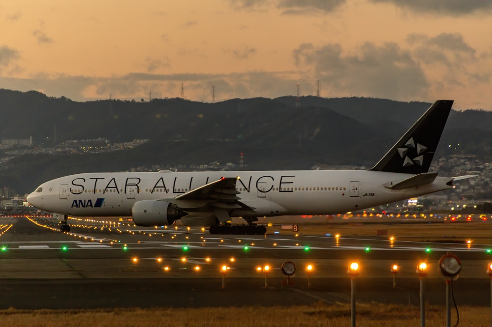 Star Alliance airplane at the airport