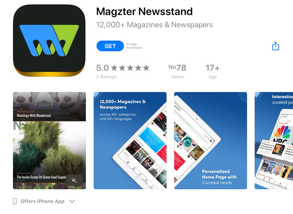 Magzter app for mobile and tablet