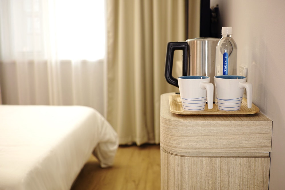 Water kettle in a room