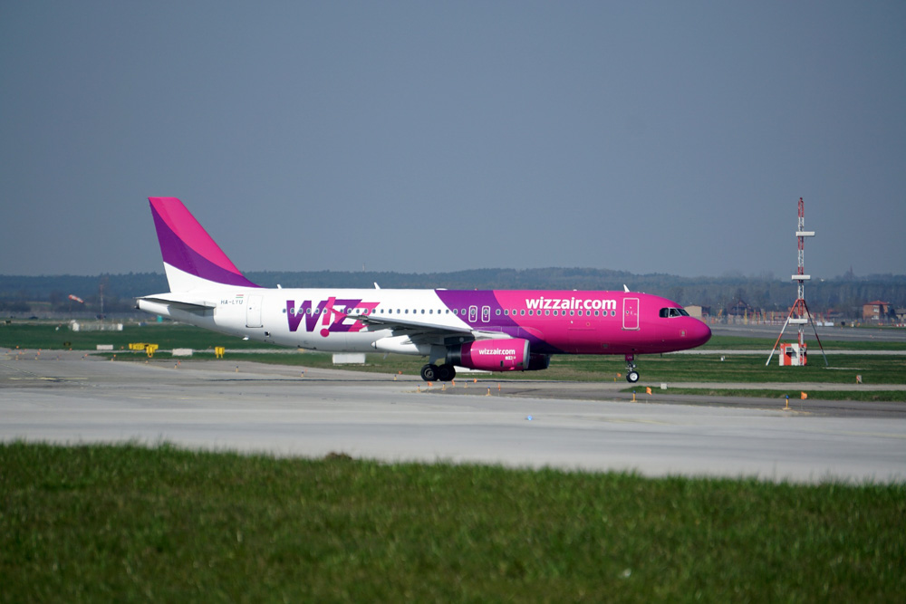 Wizzair aircraft on the ground at the airport