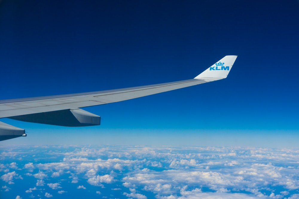 View from a KLM airplane in the air