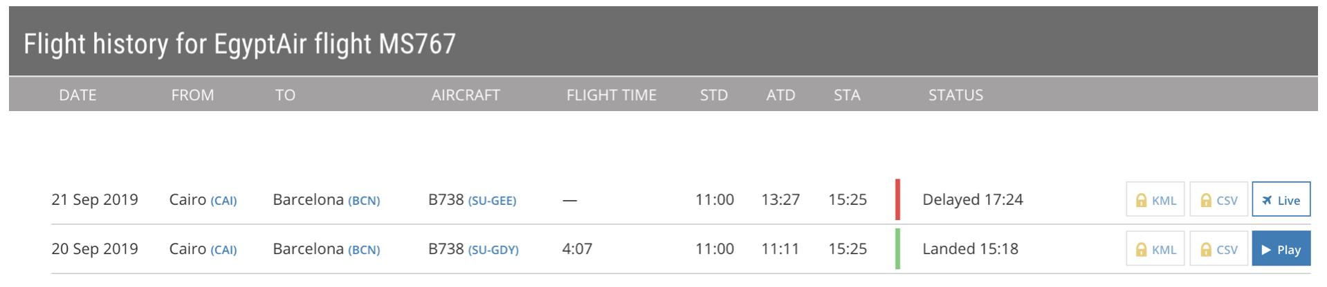 Flight history - Egypt Air flight