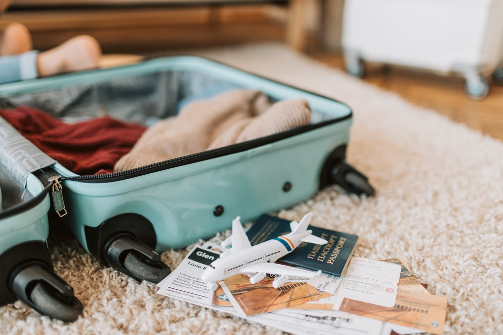 Suitcase on the floor