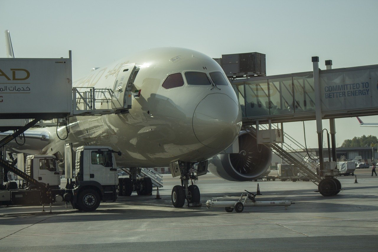 Etihad Airways airplane at the airport
