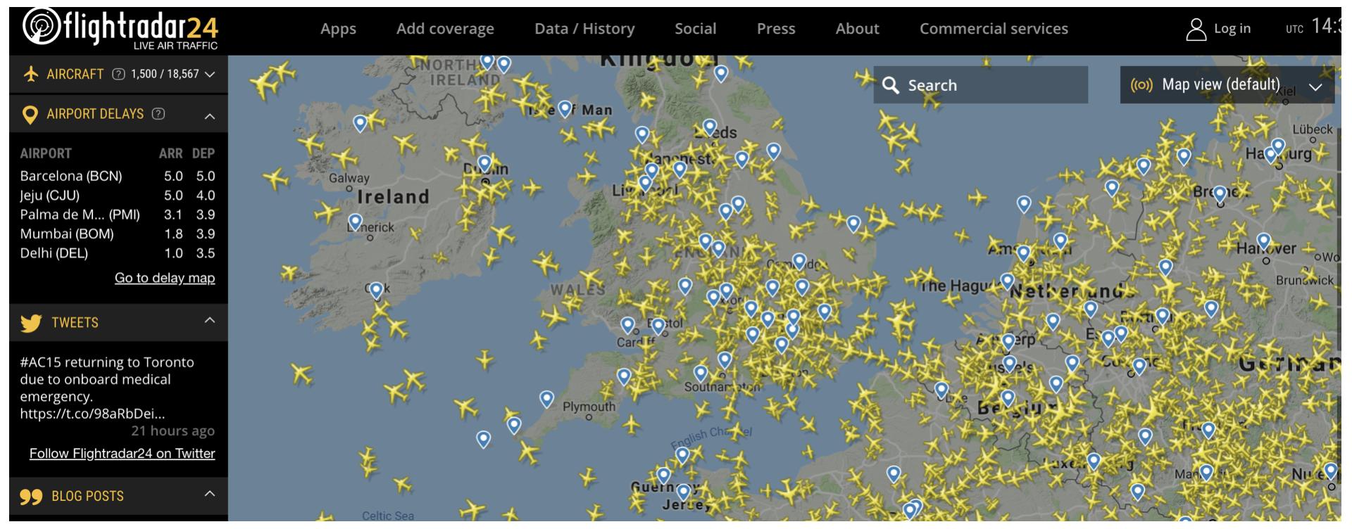 Flightradar flight information