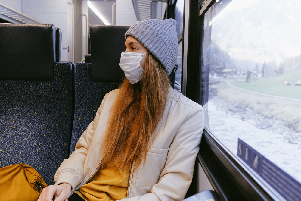 Woman wearing a face mask on the train