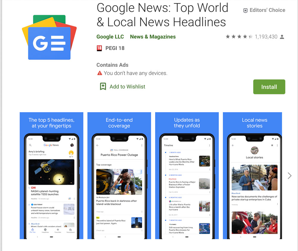 Google News app for mobile and tablet