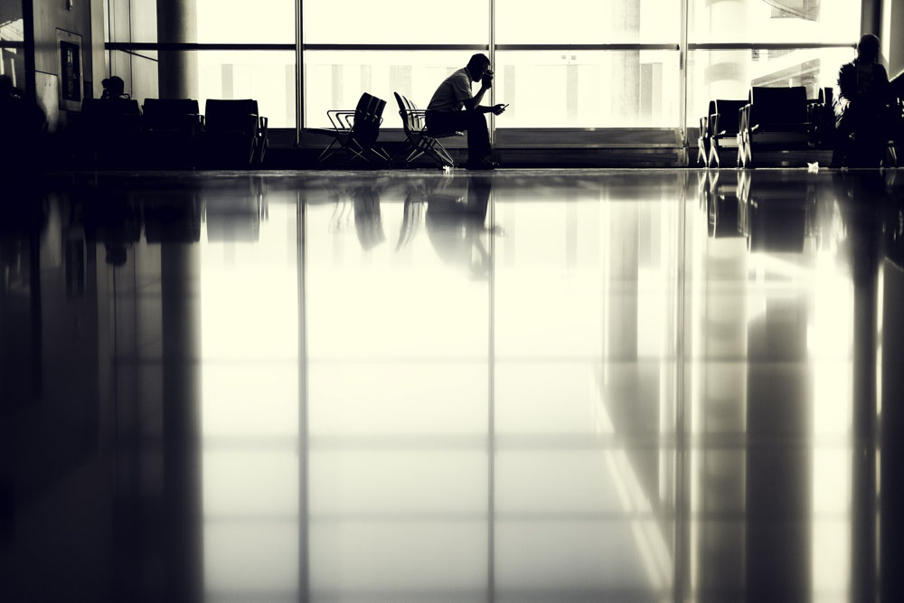 A person waiting at the airport