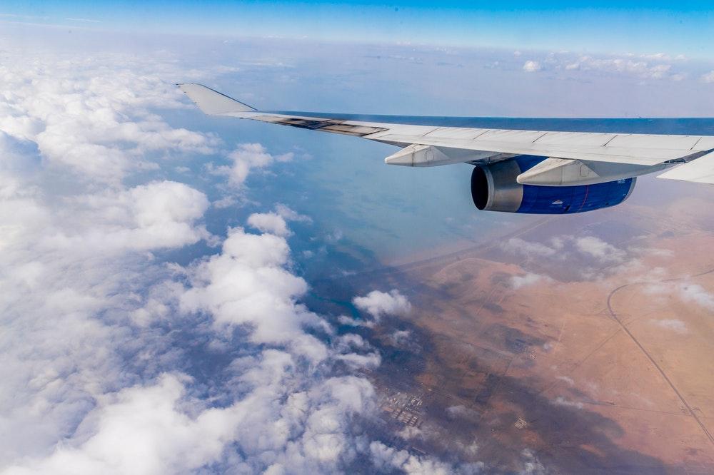 Flying over mountainous region